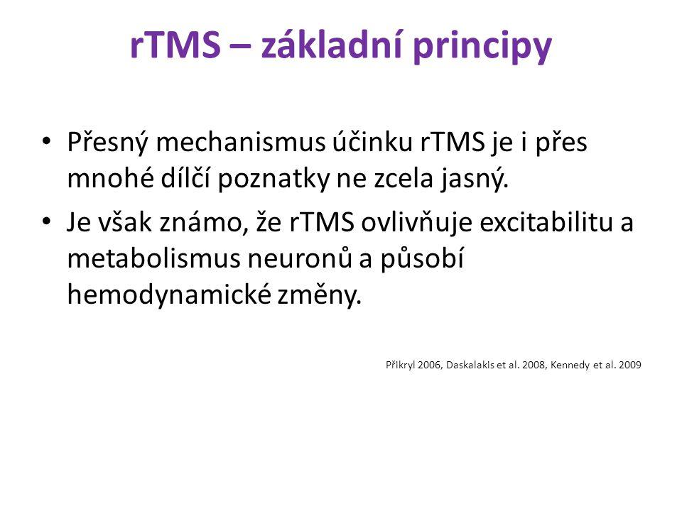 rTMS – základní principy Přesný mechanismus účinku rTMS je i přes mnohé dílčí poznatky ne zcela jasný. Je však známo, že rTMS ovlivňuje excitabilitu a