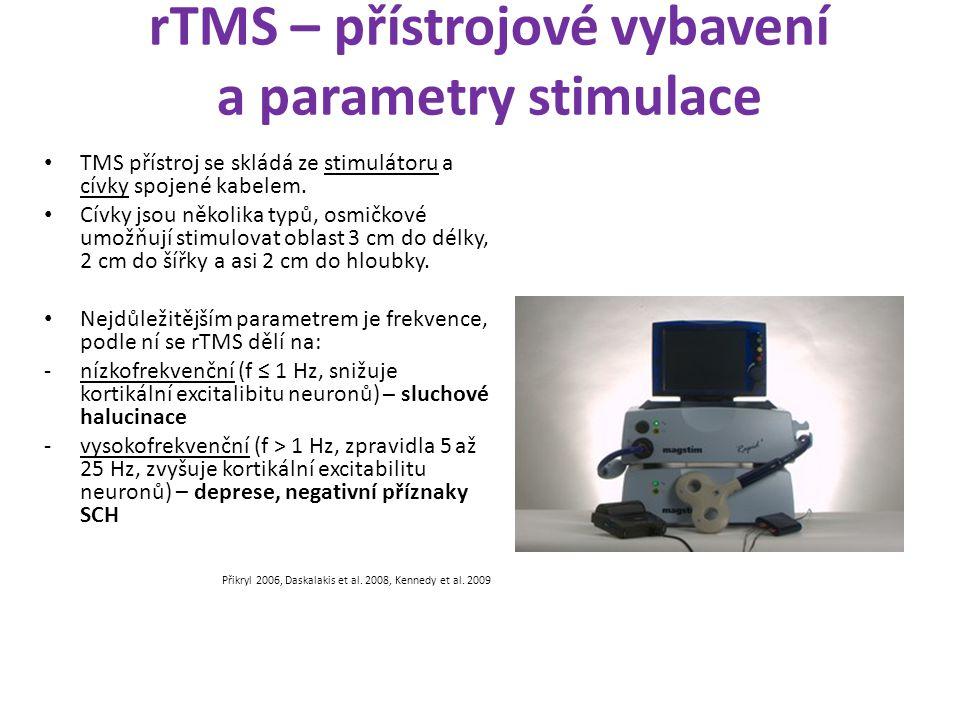 rTMS – přístrojové vybavení a parametry stimulace TMS přístroj se skládá ze stimulátoru a cívky spojené kabelem. Cívky jsou několika typů, osmičkové u