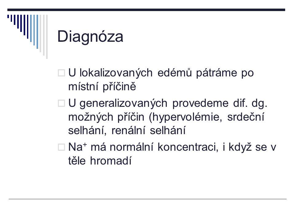 Diagnóza  U lokalizovaných edémů pátráme po místní příčině  U generalizovaných provedeme dif.
