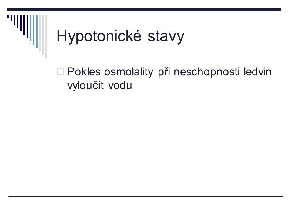 Hypotonické stavy  Pokles osmolality při neschopnosti ledvin vyloučit vodu