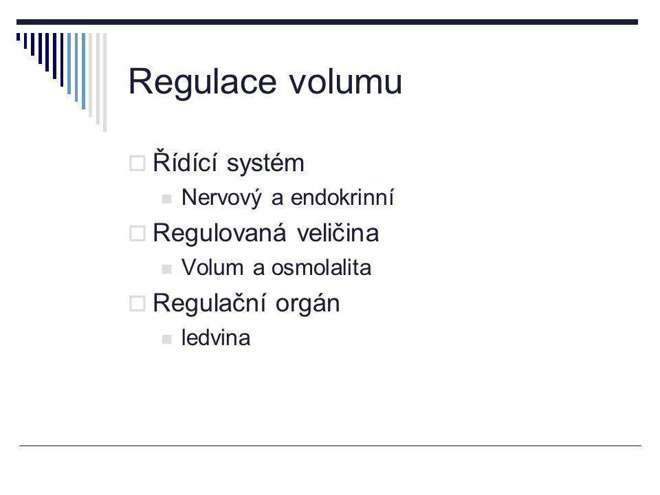 Regulace volumu  Řídící systém Nervový a endokrinní  Regulovaná veličina Volum a osmolalita  Regulační orgán ledvina