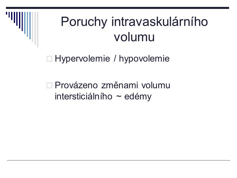 Hypervolemie  Zvětšení intravaskulárního volumu Polycytaemia vera, transfuze ery masy Expanze volumu plazmy – celého extracelulárního prostoru v důsledku neadekvátní exkrece Na +
