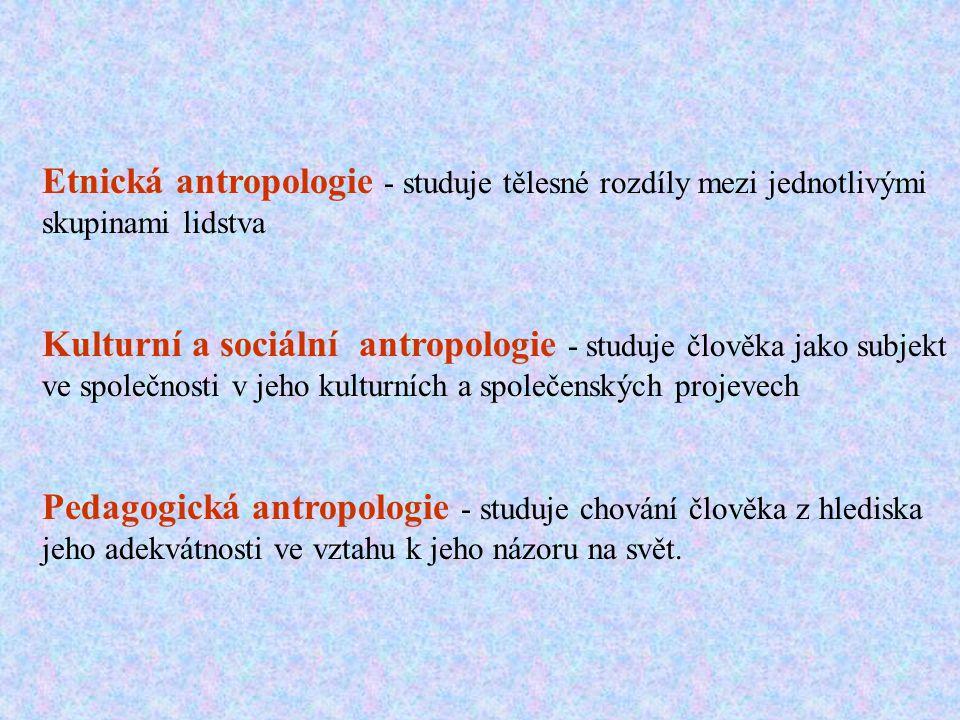 Etnická antropologie - studuje tělesné rozdíly mezi jednotlivými skupinami lidstva Kulturní a sociální antropologie - studuje člověka jako subjekt ve