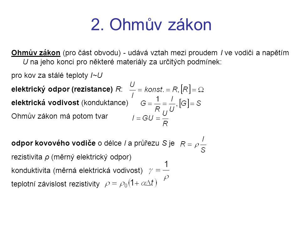 2. Ohmův zákon Ohmův zákon (pro část obvodu) - udává vztah mezi proudem I ve vodiči a napětím U na jeho konci pro některé materiály za určitých podmín