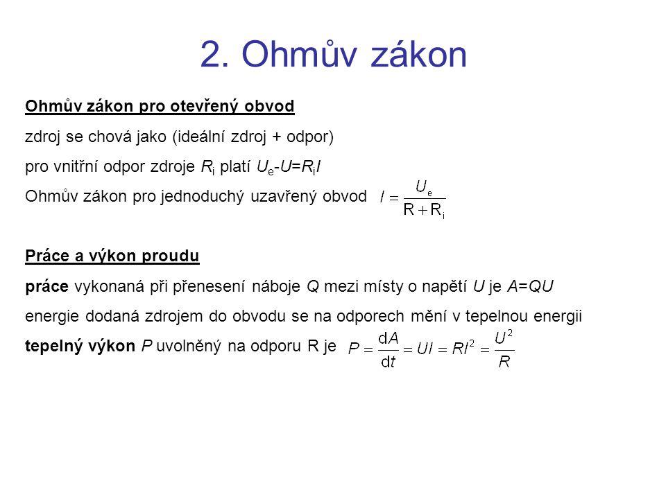 2. Ohmův zákon Ohmův zákon pro otevřený obvod zdroj se chová jako (ideální zdroj + odpor) pro vnitřní odpor zdroje R i platí U e -U=R i I Ohmův zákon