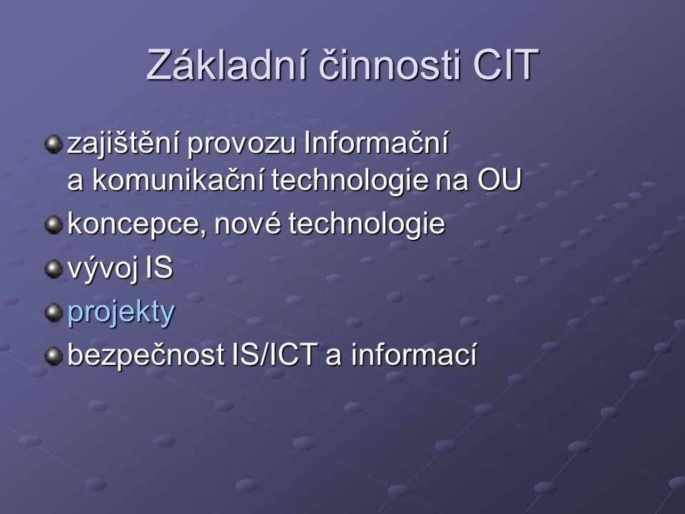 Základní činnosti CIT zajištění provozu Informační a komunikační technologie na OU koncepce, nové technologie vývoj IS projekty bezpečnost IS/ICT a informací