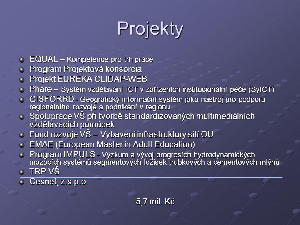 Projekty EQUAL – Kompetence pro trh práce Program Projektová konsorcia Projekt EUREKA CLIDAP-WEB Phare – Systém vzdělávání ICT v zařízeních institucio