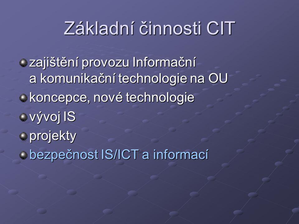 Základní činnosti CIT zajištění provozu Informační a komunikační technologie na OU koncepce, nové technologie vývoj IS projekty bezpečnost IS/ICT a in