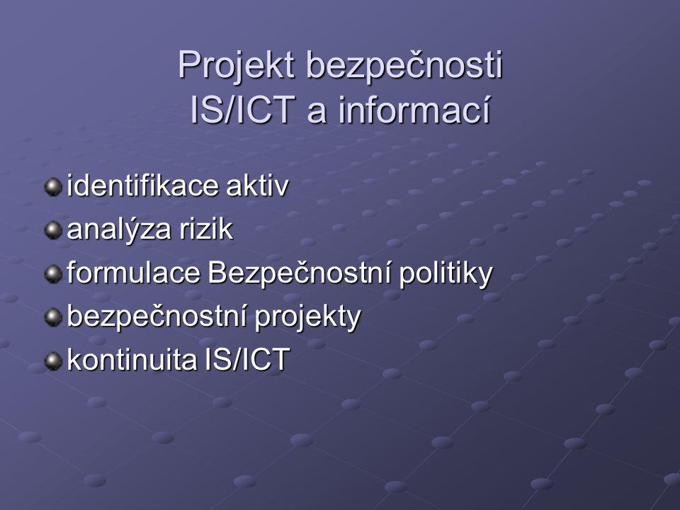 Projekt bezpečnosti IS/ICT a informací identifikace aktiv analýza rizik formulace Bezpečnostní politiky bezpečnostní projekty kontinuita IS/ICT
