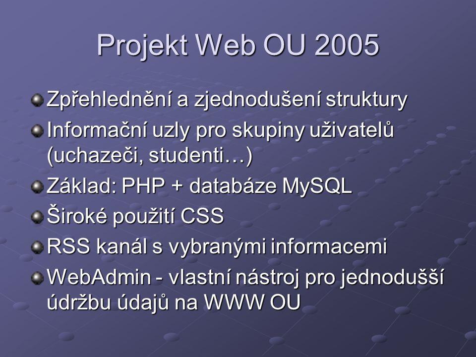 Projekt Web OU 2005 Zpřehlednění a zjednodušení struktury Informační uzly pro skupiny uživatelů (uchazeči, studenti…) Základ: PHP + databáze MySQL Šir