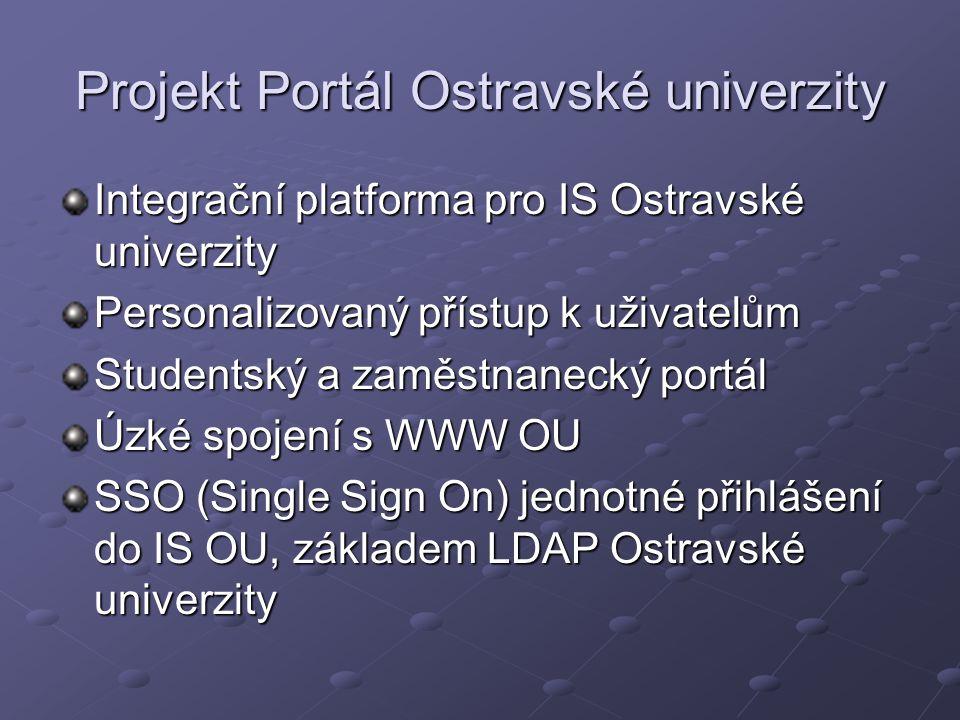 Projekt Portál Ostravské univerzity Integrační platforma pro IS Ostravské univerzity Personalizovaný přístup k uživatelům Studentský a zaměstnanecký portál Úzké spojení s WWW OU SSO (Single Sign On) jednotné přihlášení do IS OU, základem LDAP Ostravské univerzity