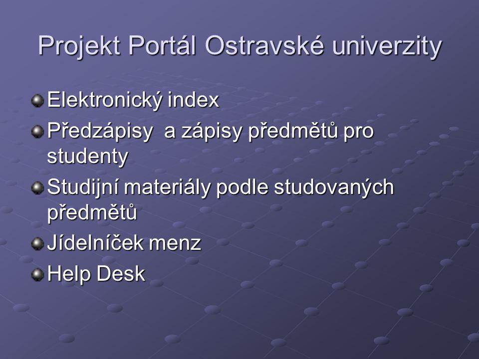 Projekt Portál Ostravské univerzity Elektronický index Předzápisy a zápisy předmětů pro studenty Studijní materiály podle studovaných předmětů Jídelníček menz Help Desk