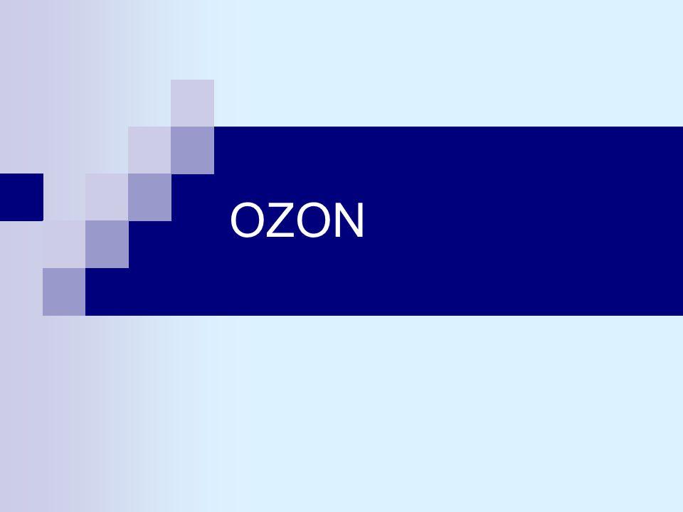 Charakteristika a vlastnosti ozonu ozon O 3 je modifikací kyslíku, jehož molekula je tvořena třemi atomyozon O 3 je modifikací kyslíku, jehož molekula je tvořena třemi atomy molekulová hmotnost je 48molekulová hmotnost je 48 za normálních podmínek plynná látka o hustotě 1,65 (vzduch = 1) či měrné hmotnosti 2,143 kg.m -3za normálních podmínek plynná látka o hustotě 1,65 (vzduch = 1) či měrné hmotnosti 2,143 kg.m -3 pod teplotou -192 °C tvoří černomodré krystalkypod teplotou -192 °C tvoří černomodré krystalky v rozmezí -192,5 °C až -111 °C je to tmavomodrá kapalinav rozmezí -192,5 °C až -111 °C je to tmavomodrá kapalina
