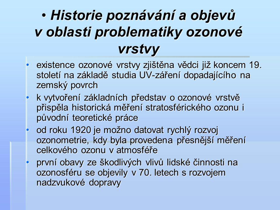 Historie poznávání a objevů v oblasti problematiky ozonové vrstvy Historie poznávání a objevů v oblasti problematiky ozonové vrstvy existence ozonové