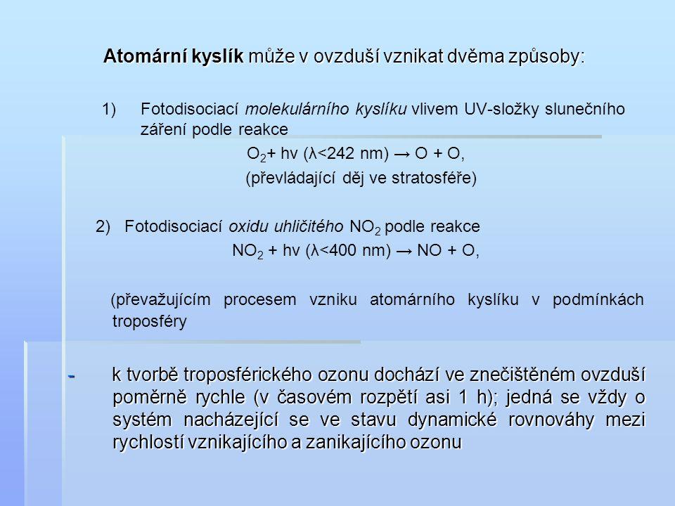 Atomární kyslík může v ovzduší vznikat dvěma způsoby: Atomární kyslík může v ovzduší vznikat dvěma způsoby: 1) 1)Fotodisociací molekulárního kyslíku v