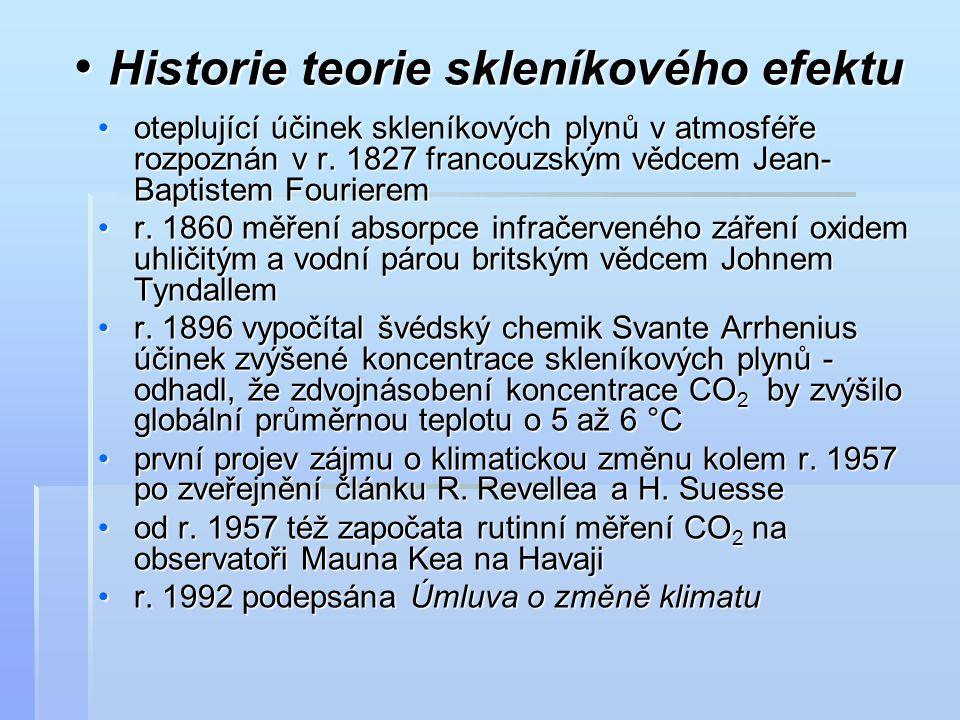 Historie teorie skleníkového efektu Historie teorie skleníkového efektu oteplující účinek skleníkových plynů v atmosféře rozpoznán v r. 1827 francouzs