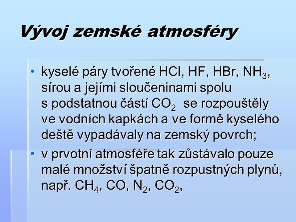 Vývoj zemské atmosféry kyselé páry tvořené HCl, HF, HBr, NH 3, sírou a jejími sloučeninami spolu s podstatnou částí CO 2 se rozpouštěly ve vodních kap