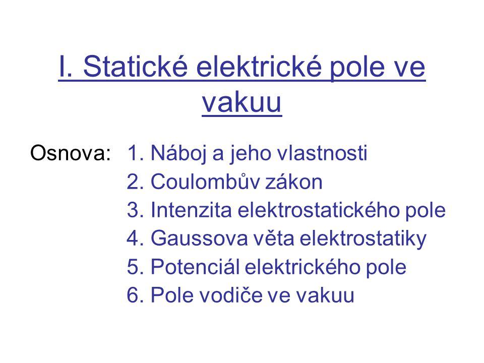 I. Statické elektrické pole ve vakuu Osnova:1. Náboj a jeho vlastnosti 2. Coulombův zákon 3. Intenzita elektrostatického pole 4. Gaussova věta elektro