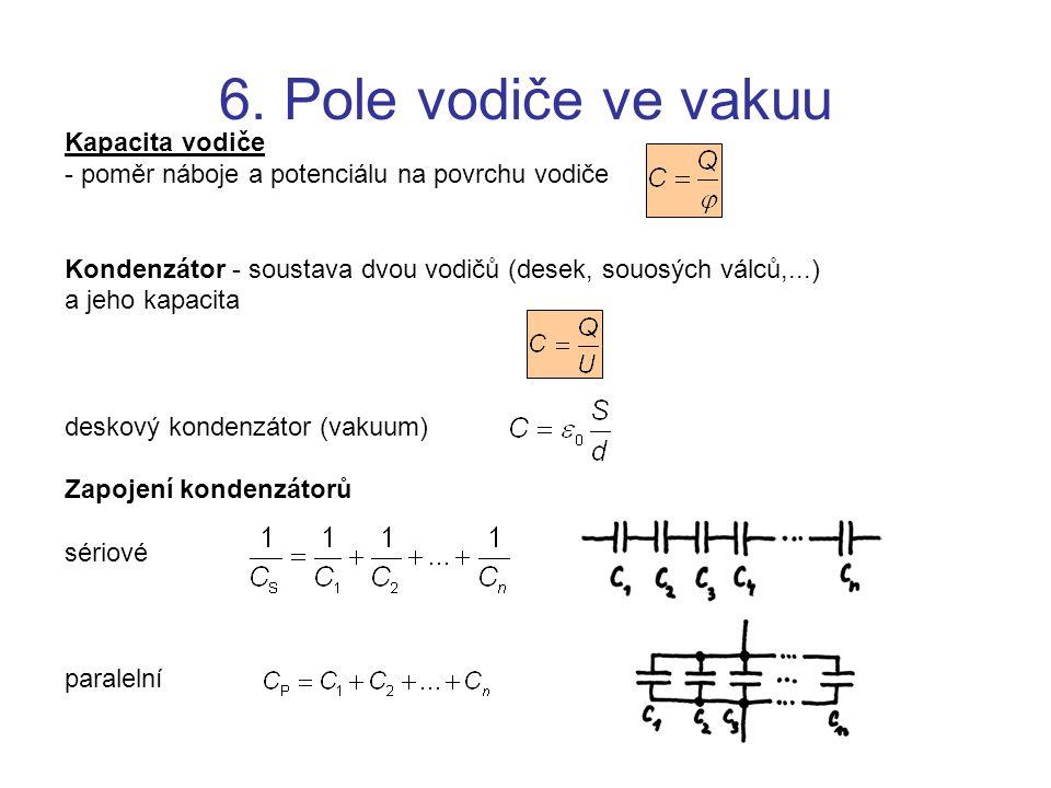 Kapacita vodiče - poměr náboje a potenciálu na povrchu vodiče Kondenzátor - soustava dvou vodičů (desek, souosých válců,...) a jeho kapacita deskový k