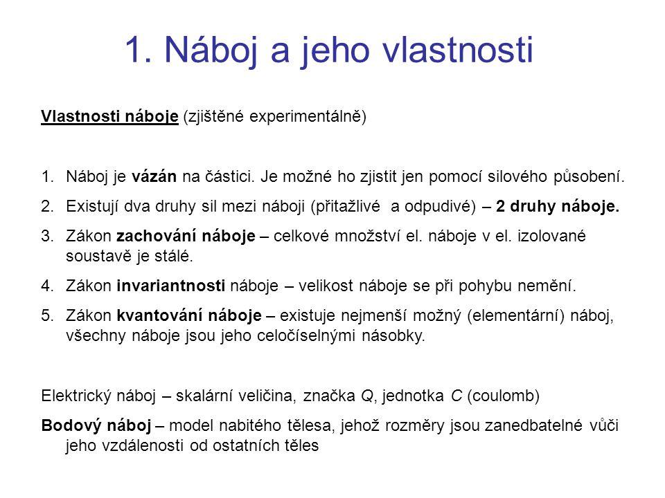 1. Náboj a jeho vlastnosti Vlastnosti náboje (zjištěné experimentálně) 1.Náboj je vázán na částici. Je možné ho zjistit jen pomocí silového působení.