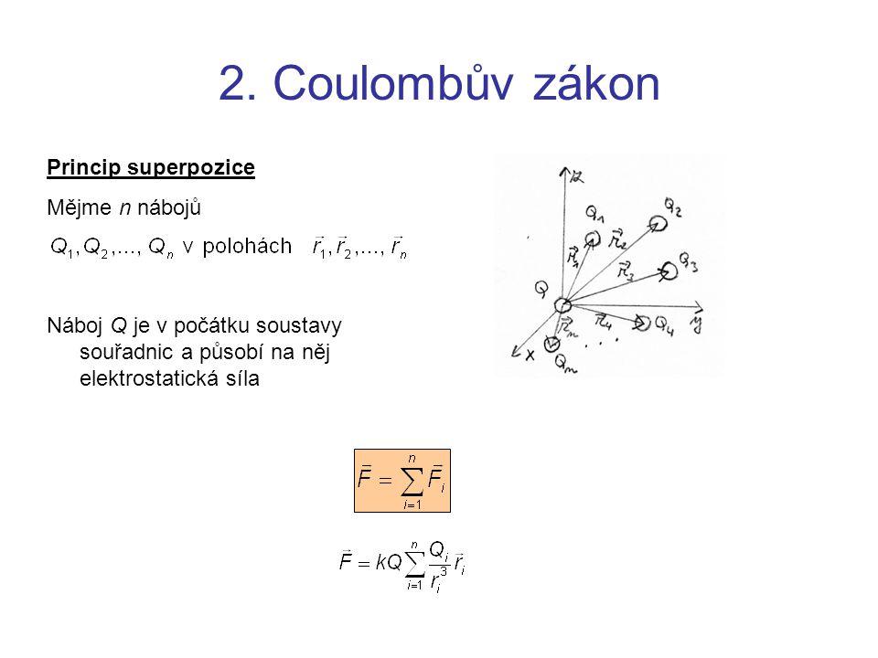 2. Coulombův zákon Princip superpozice Mějme n nábojů Náboj Q je v počátku soustavy souřadnic a působí na něj elektrostatická síla