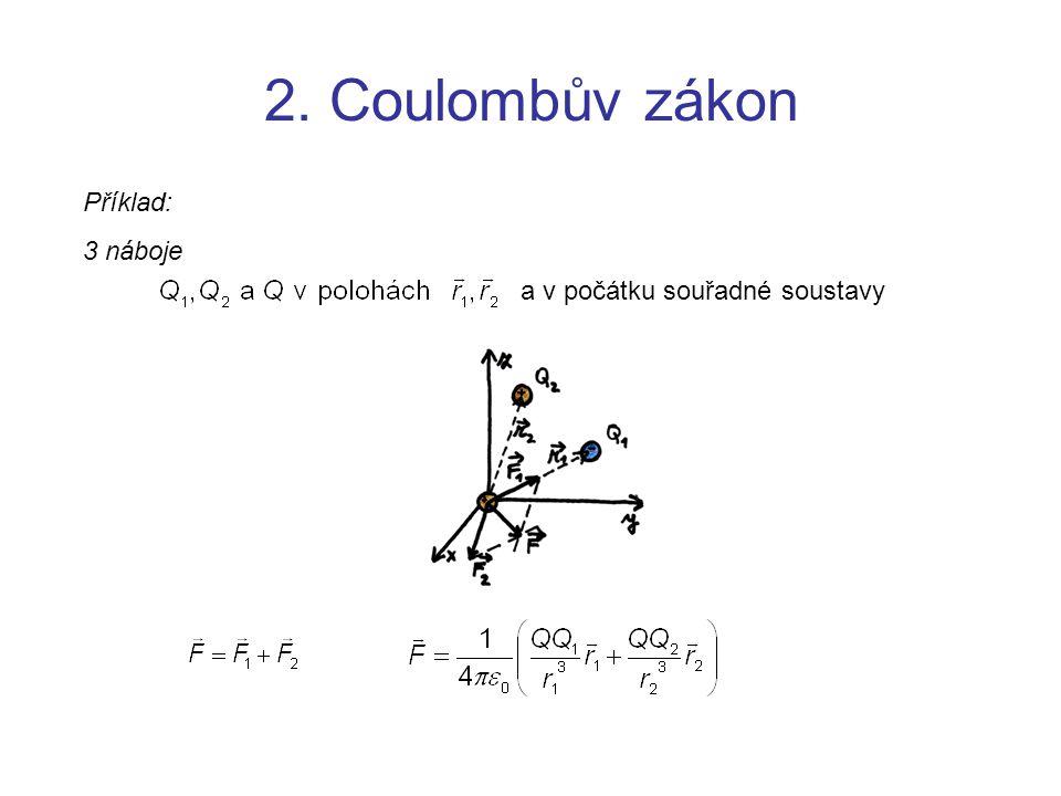 2. Coulombův zákon Příklad: 3 náboje a v počátku souřadné soustavy
