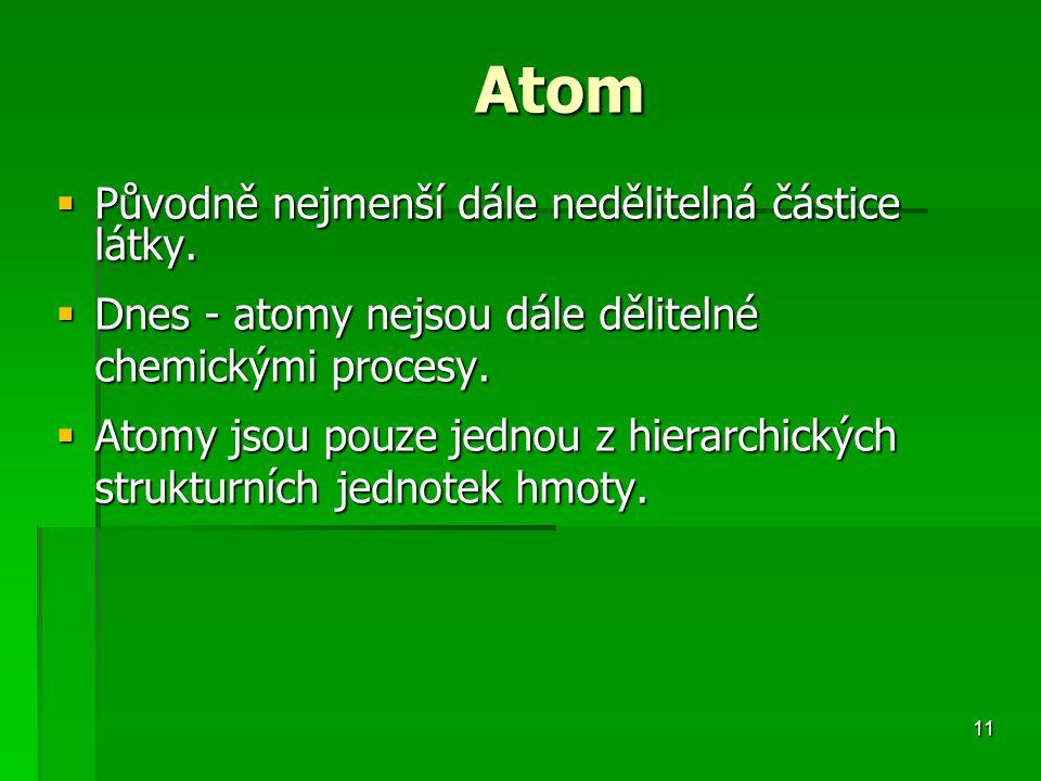 11 Atom  Původně nejmenší dále nedělitelná částice látky.