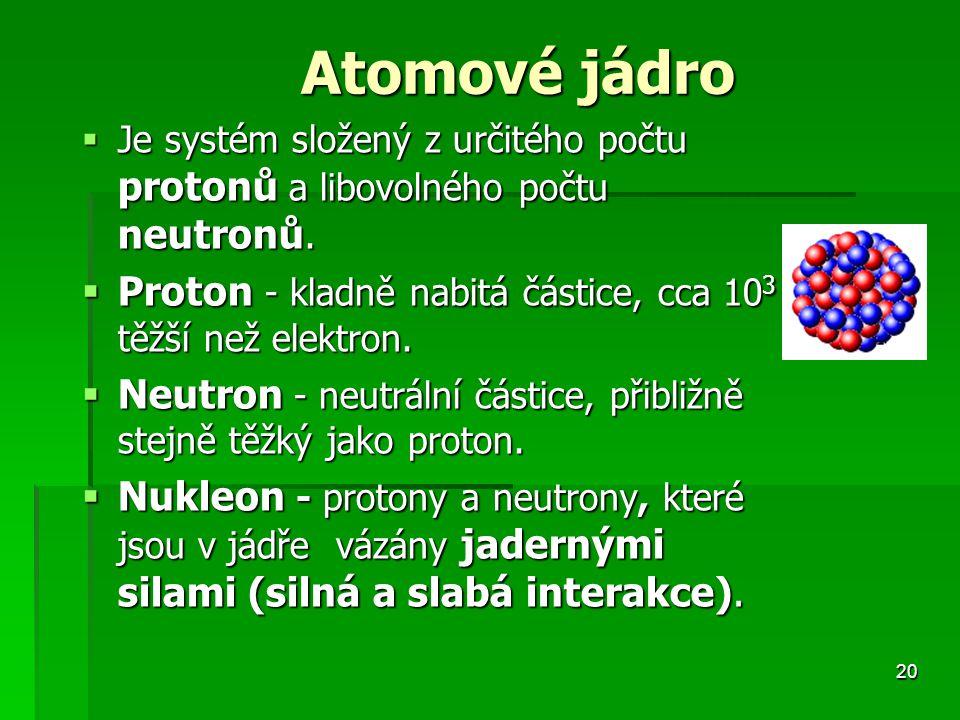 20 Atomové jádro Atomové jádro  Je systém složený z určitého počtu protonů a libovolného počtu neutronů.