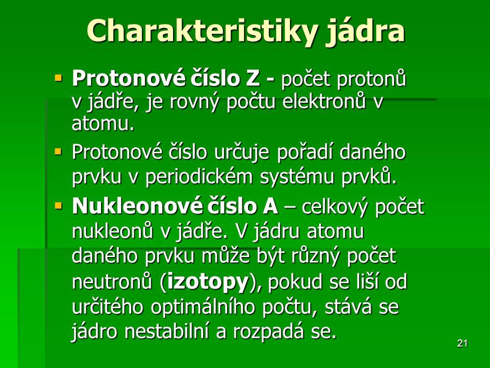 21 Charakteristiky jádra  Protonové číslo Z - počet protonů v jádře, je rovný počtu elektronů v atomu.