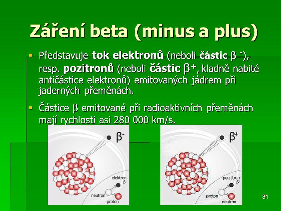 31 Záření beta (minus a plus) Záření beta (minus a plus)  Představuje tok elektronů (neboli částic  - ), resp.