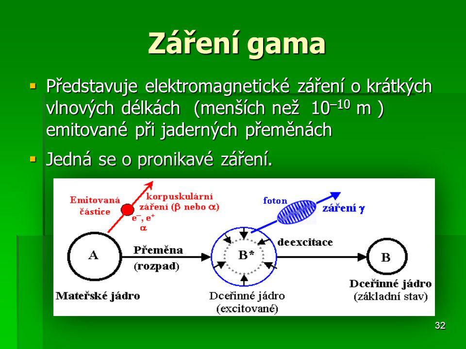 32 Záření gama  Představuje elektromagnetické záření o krátkých vlnových délkách (menších než 10 –10 m ) emitované při jaderných přeměnách  Jedná se o pronikavé záření.
