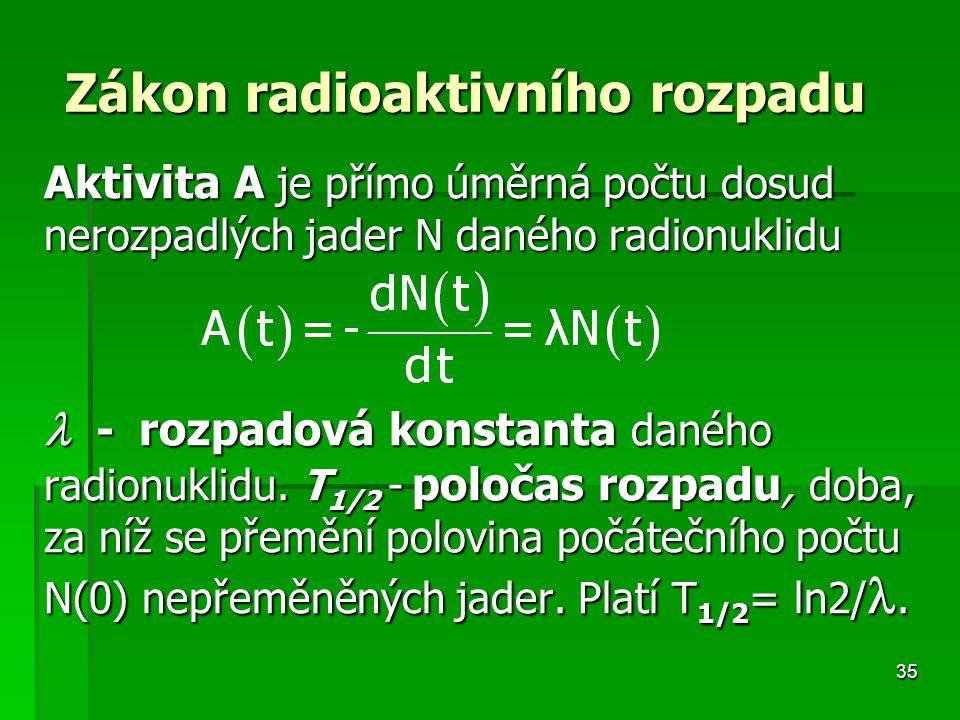 35 Zákon radioaktivního rozpadu Zákon radioaktivního rozpadu Aktivita A je přímo úměrná počtu dosud nerozpadlých jader N daného radionuklidu - rozpadová konstanta daného radionuklidu.