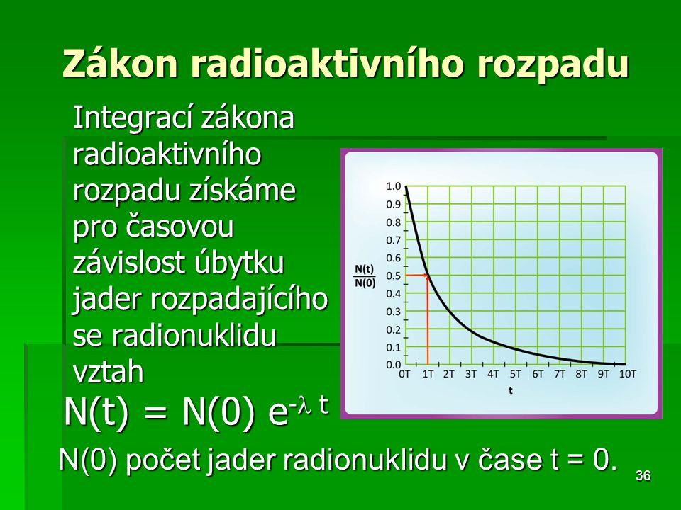 36 Zákon radioaktivního rozpadu Integrací zákona radioaktivního rozpadu získáme pro časovou závislost úbytku jader rozpadajícího se radionuklidu vztah N(t) = N(0) e - t N(0) počet jader radionuklidu v čase t = 0.
