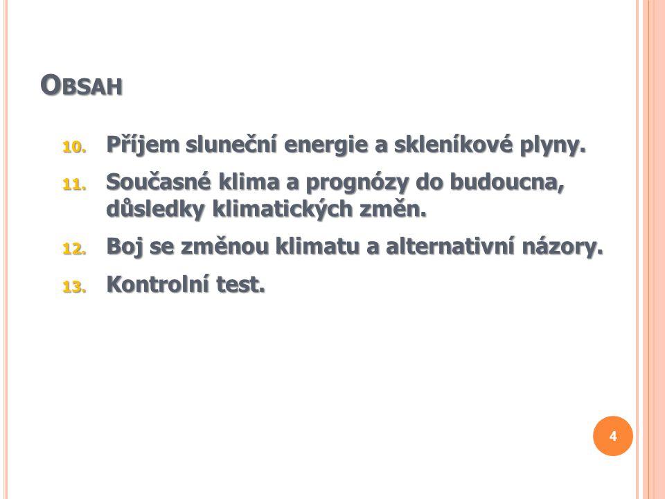 O BSAH 10.Příjem sluneční energie a skleníkové plyny.