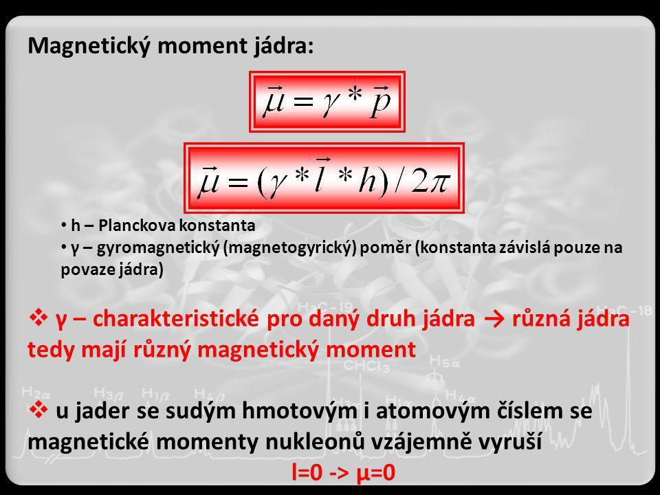 Magnetický moment jádra: h – Planckova konstanta γ – gyromagnetický (magnetogyrický) poměr (konstanta závislá pouze na povaze jádra)  γ – charakteris