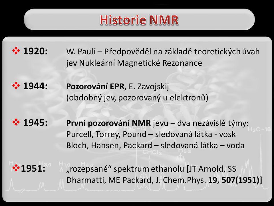  1920: W. Pauli – Předpověděl na základě teoretických úvah jev Nukleární Magnetické Rezonance  1944: Pozorování EPR, E. Zavojskij (obdobný jev, pozo
