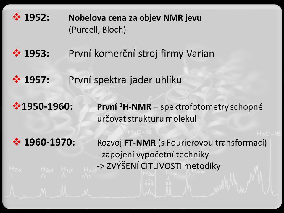  1952: Nobelova cena za objev NMR jevu (Purcell, Bloch)  1953:První komerční stroj firmy Varian  1957:První spektra jader uhlíku  1950-1960: První
