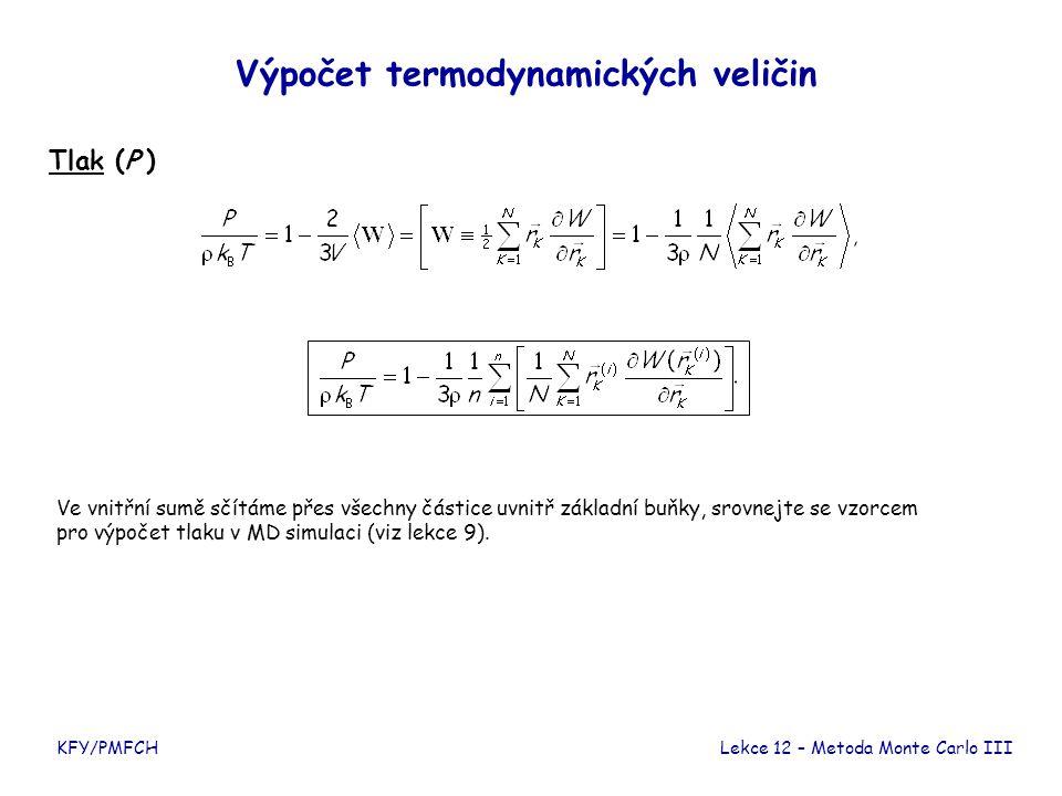 KFY/PMFCH Výpočet termodynamických veličin Tlak (P ) Lekce 12 – Metoda Monte Carlo III Ve vnitřní sumě sčítáme přes všechny částice uvnitř základní bu