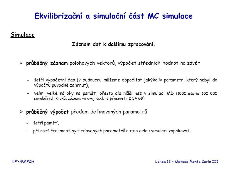 KFY/PMFCH Ekvilibrizační a simulační část MC simulace Simulace Záznam dat k dalšímu zpracování. -šetří výpočetní čas (v budoucnu můžeme dopočítat jaký