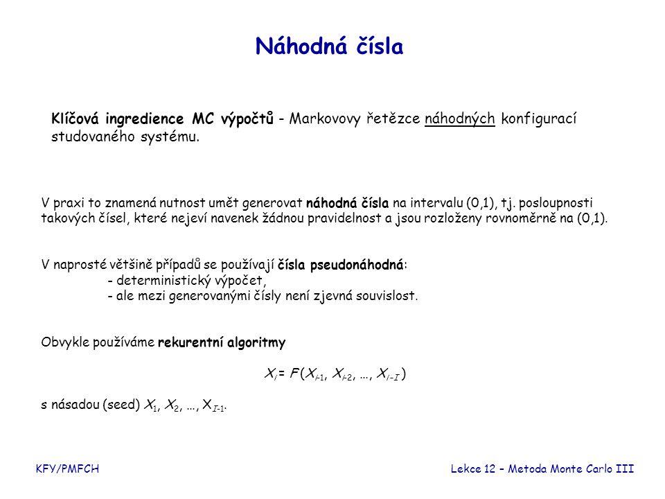 KFY/PMFCH Náhodná čísla Lekce 12 – Metoda Monte Carlo III Klíčová ingredience MC výpočtů - Markovovy řetězce náhodných konfigurací studovaného systému