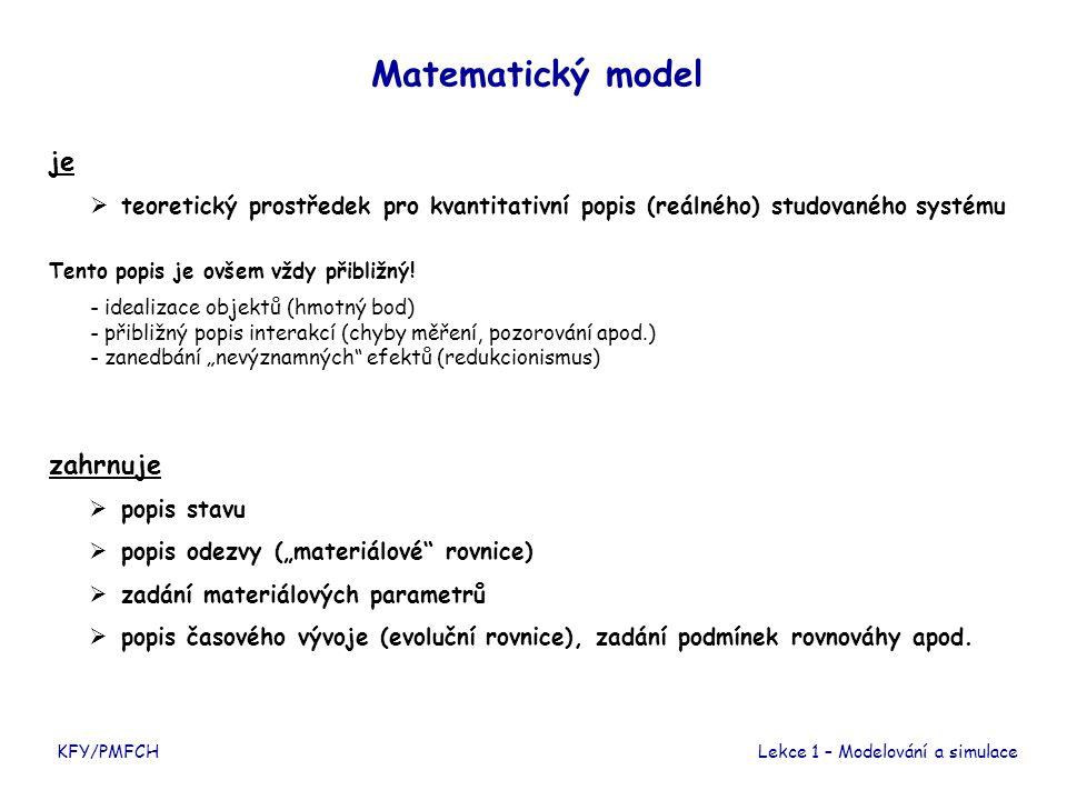 KFY/PMFCHLekce 1 – Modelování a simulace Matematický model je  teoretický prostředek pro kvantitativní popis (reálného) studovaného systému Tento popis je ovšem vždy přibližný.