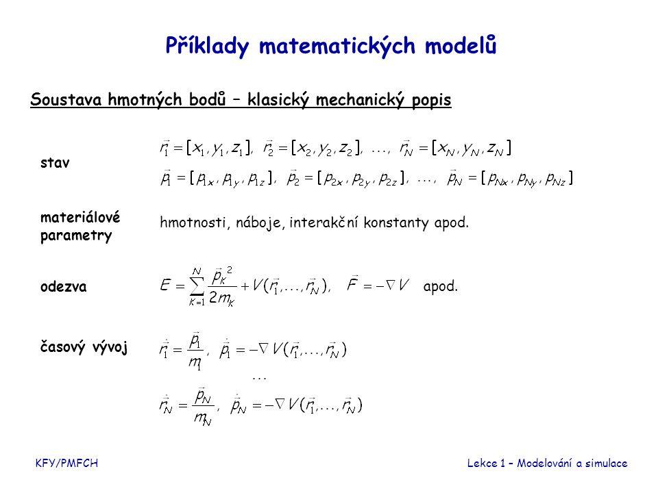 KFY/PMFCHLekce 1 – Modelování a simulace Příklady matematických modelů Soustava hmotných bodů – klasický mechanický popis stav materiálové parametry odezva časový vývoj hmotnosti, náboje, interakční konstanty apod.