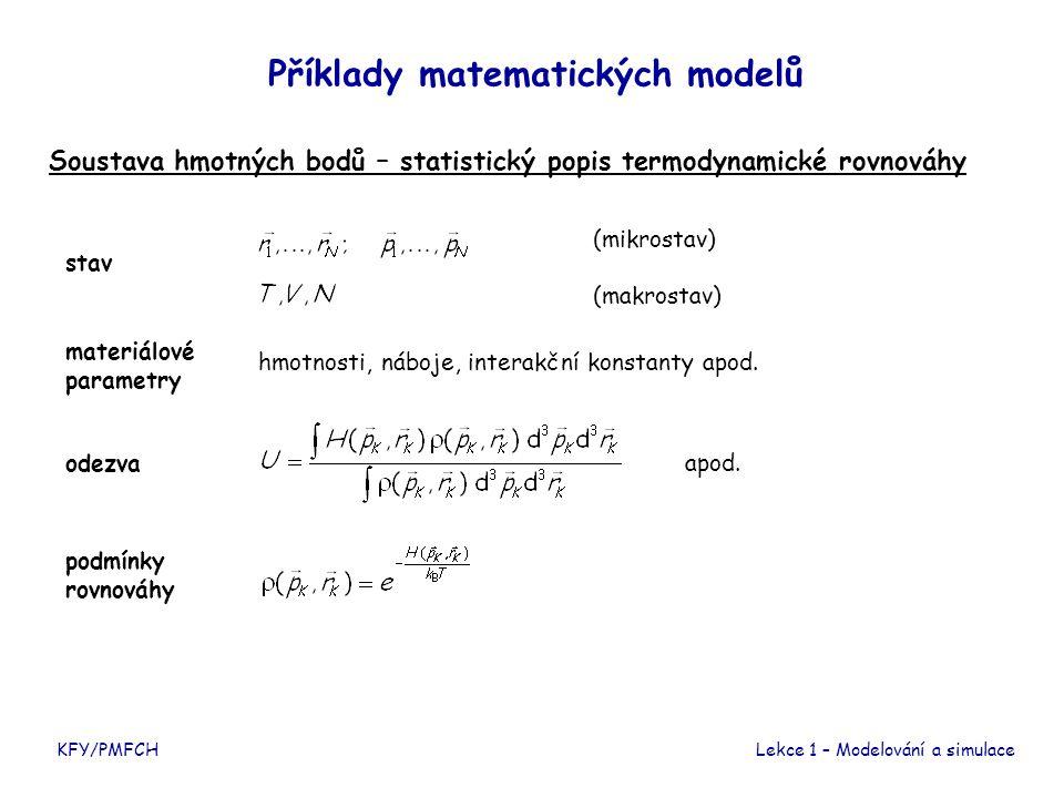 KFY/PMFCHLekce 1 – Modelování a simulace Příklady matematických modelů Homogenní chemický reaktor stav materiálové parametry odezva časový vývoj stechiometrické koeficienty, rychlostní konstanty (koncentrace látek) (teplota, tlak) reakční rychlosti