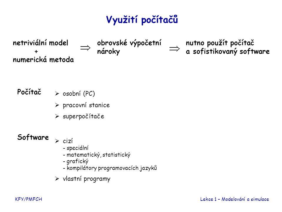 KFY/PMFCHLekce 1 – Modelování a simulace Využití počítačů netriviální model + numerická metoda Software  cizí - speciální - matematický, statistický