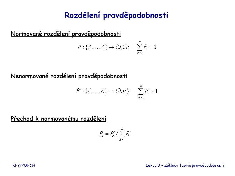 Normované rozdělení pravděpodobnosti KFY/PMFCH Nenormované rozdělení pravděpodobnosti Přechod k normovanému rozdělení Rozdělení pravděpodobnosti Lekce 3 – Základy teorie pravděpodobnosti