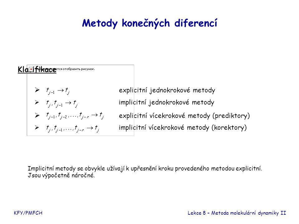 Verletovy metody KFY/PMFCHLekce 8 – Metoda molekulární dynamiky II Pro jednoduchost se omezíme na jedinou diferenciální rovnici Základní Verletova metoda Označení: Vlastnosti - dvoukrokový prediktor - chyba výpočtu v jednom kroku Odvození
