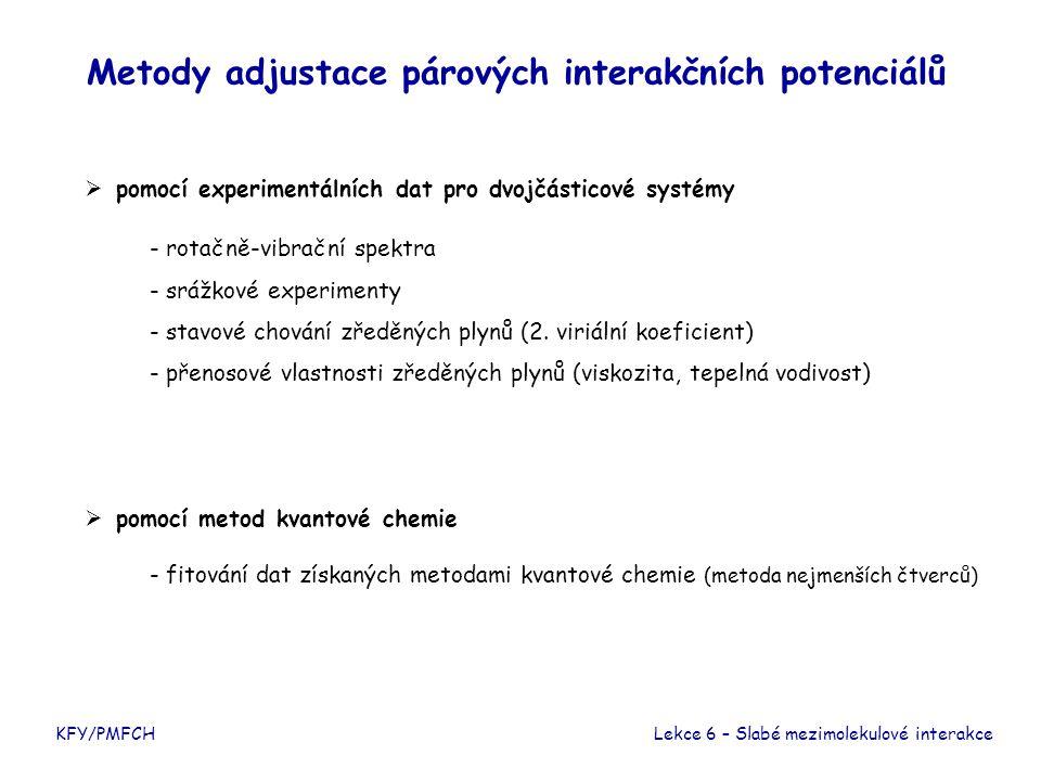 KFY/PMFCH Metody adjustace párových interakčních potenciálů  pomocí experimentálních dat pro dvojčásticové systémy Lekce 6 – Slabé mezimolekulové int