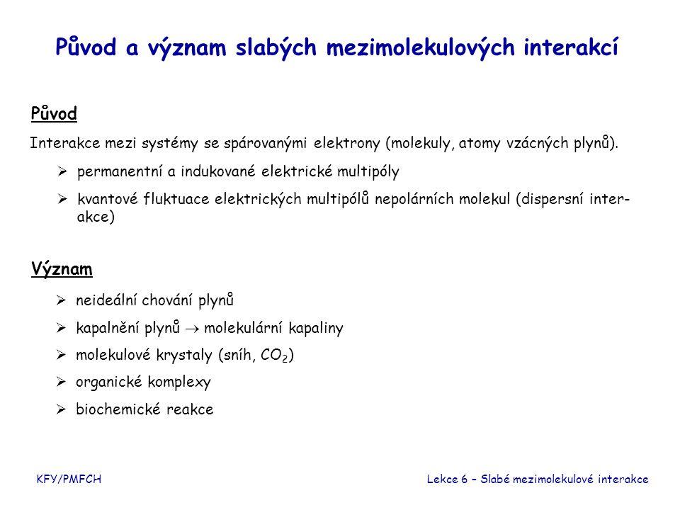 KFY/PMFCH Původ a význam slabých mezimolekulových interakcí Původ Význam Lekce 6 – Slabé mezimolekulové interakce Interakce mezi systémy se spárovaným