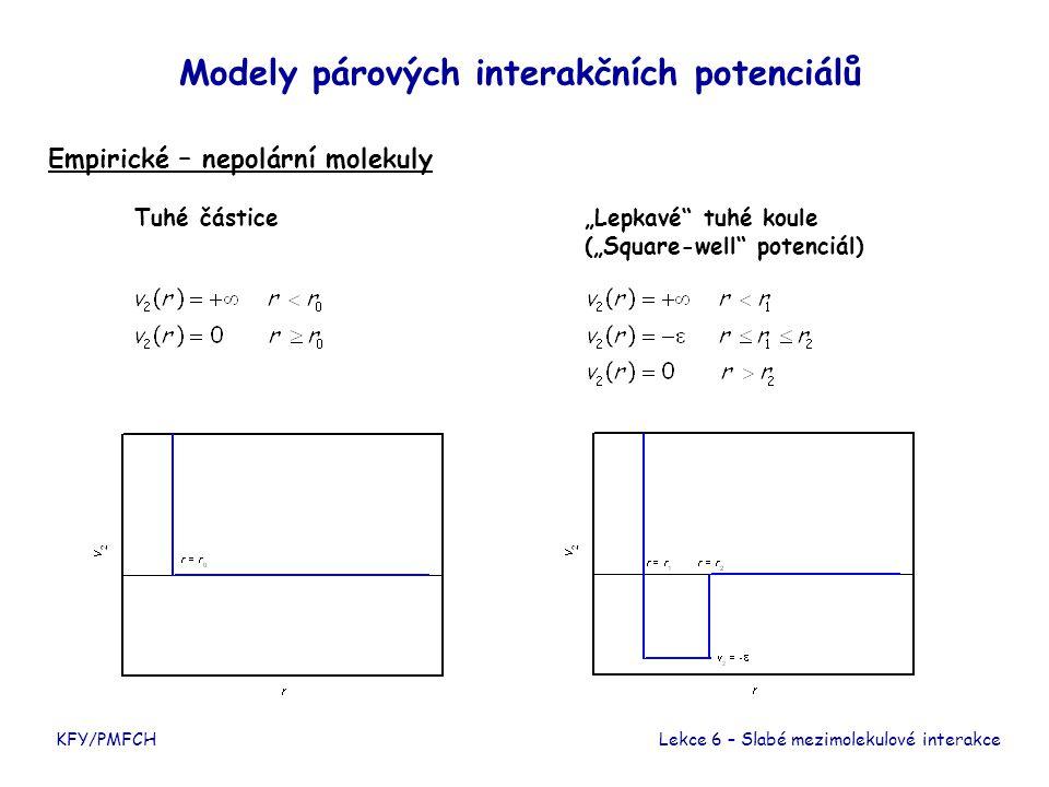 """KFY/PMFCH Modely párových interakčních potenciálů Empirické – nepolární molekuly Lekce 6 – Slabé mezimolekulové interakce Tuhé částice""""Lepkavé"""" tuhé k"""