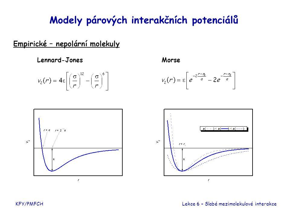 KFY/PMFCH Modely párových interakčních potenciálů Empirické – polární molekuly Lekce 6 – Slabé mezimolekulové interakce K některému z výše uvedených potenciálů nutno přidat členy reprezentující interakce permanentních a indukovaných multipólů, např.